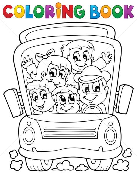 Coloring book school bus theme 1 Stock photo © clairev