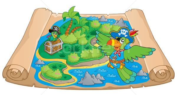 Treasure harita görüntü kâğıt palmiye okyanus kuş Stok fotoğraf © clairev
