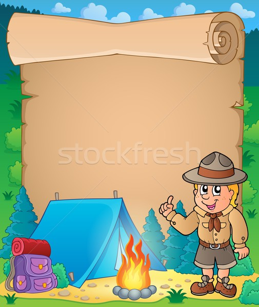 Parchment with advising scout boy Stock photo © clairev