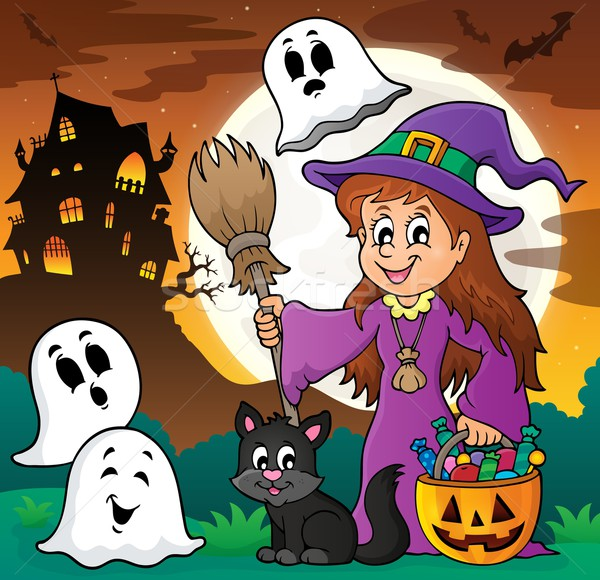 Cute witch and cat with ghosts 1 Stock photo © clairev