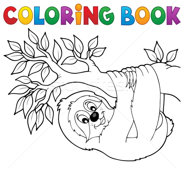Stock photo: Coloring book sloth on branch