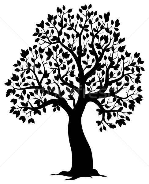 Silhouette of leafy tree theme 3 Stock photo © clairev
