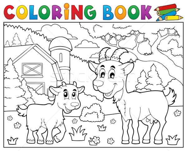 Kifestőkönyv boldog kecskék farm könyv fű Stock fotó © clairev