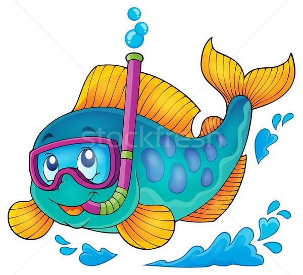 Vis snorkel duiker afbeelding zomer versnelling Stockfoto © clairev