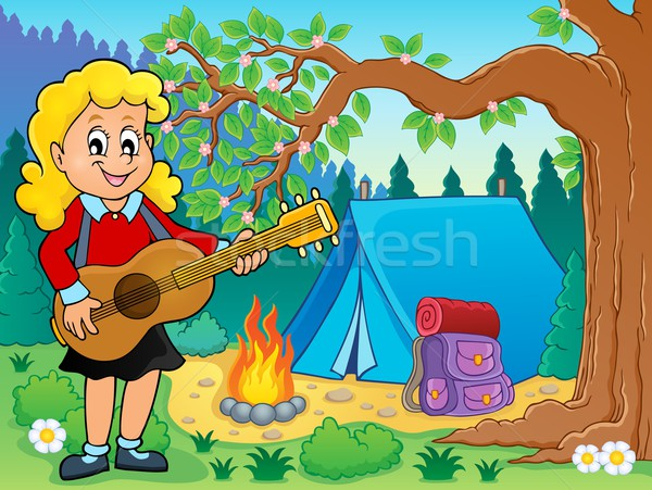 Girl guitar player in campsite theme 2 Stock photo © clairev