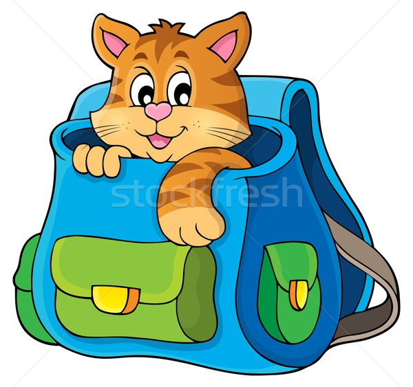 Cat in schoolbag theme image 1 Stock photo © clairev