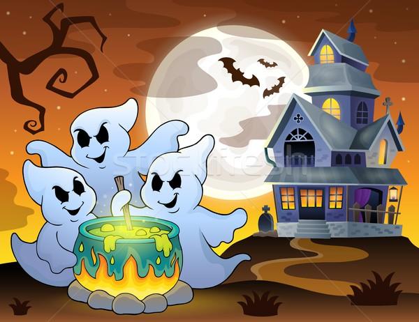 Stock photo: Ghosts stirring potion theme image 3