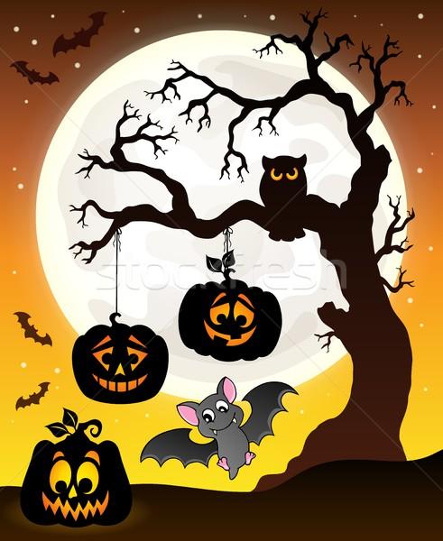 Halloween tree silhouette theme 6 Stock photo © clairev