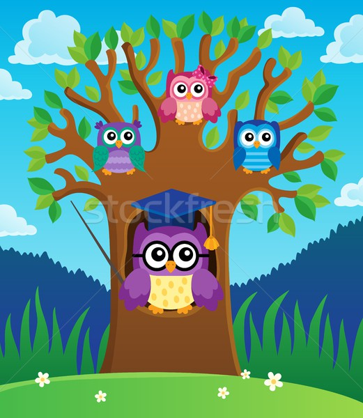 Tree with stylized school owl theme 2 Stock photo © clairev