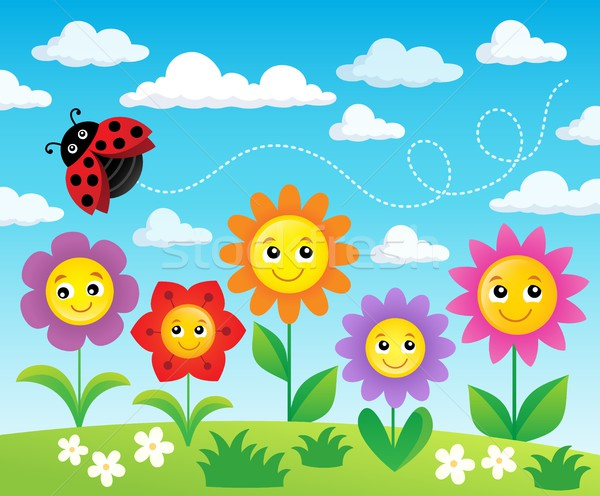 Boldog virágok téma kép virág mosoly Stock fotó © clairev