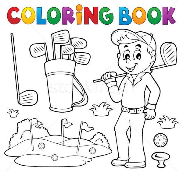 Coloring book with golf theme Stock photo © clairev
