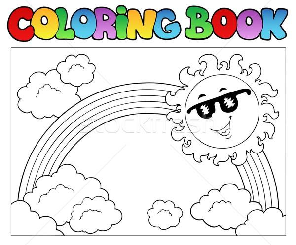 Boyama Kitabı Güneş Gökkuşağı Bahar Kitap Boya Vektör
