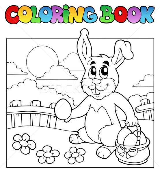 Coloring book with bunny and eggs Stock photo © clairev