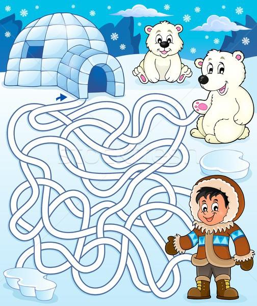 лабиринт Арктика счастливым искусства мальчика молодые Сток-фото © clairev