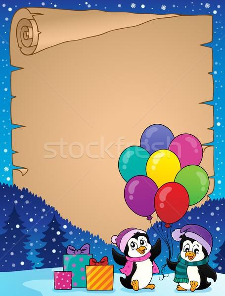 Feliz festa pergaminho papel arte inverno Foto stock © clairev