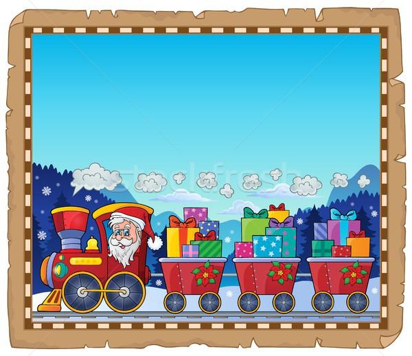 Pergamen karácsony vonat papír művészet tél Stock fotó © clairev
