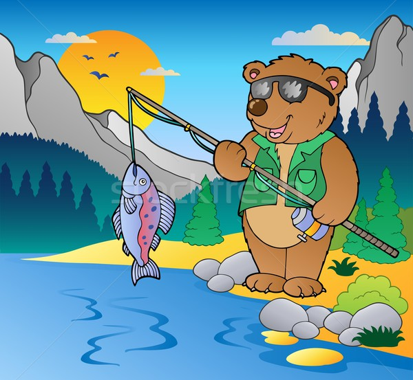 Lake with cartoon fisherman 2 Stock photo © clairev