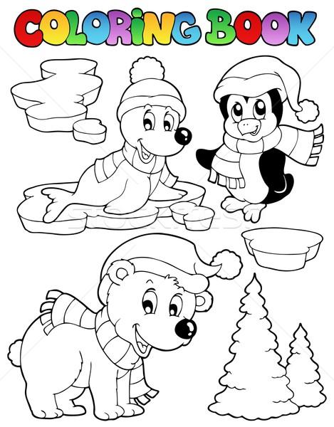 Coloring book wintertime animals 2 Stock photo © clairev