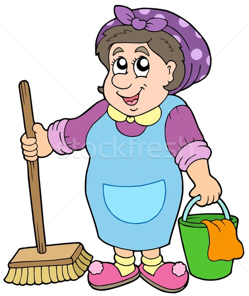 Cartoon nettoyage dame femme travaux maison Photo stock © clairev