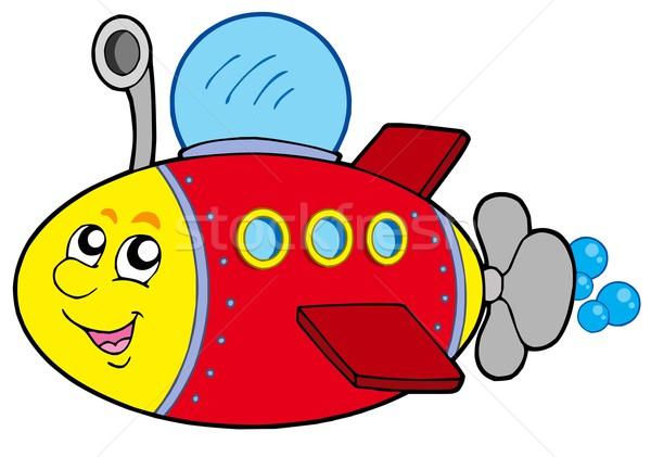 Cartoon подводная лодка белый воды лице металл Сток-фото © clairev