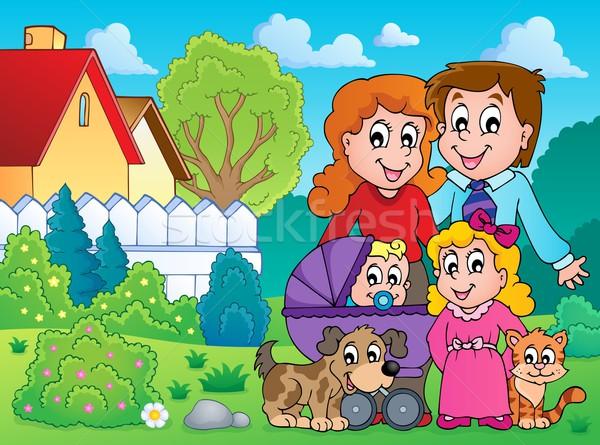 Familie Bild Baby Lächeln Kind Garten Stock foto © clairev