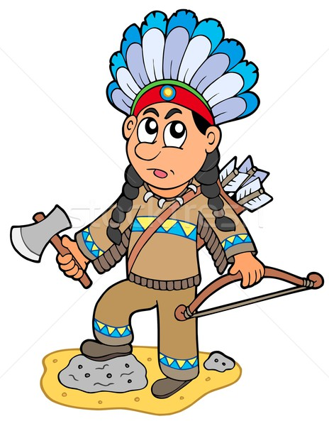 Indian boy with axe and bow Stock photo © clairev