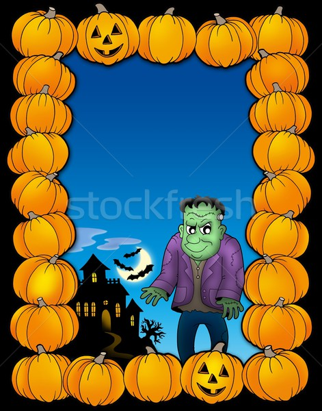 Halloween frame with Frankenstein Stock photo © clairev