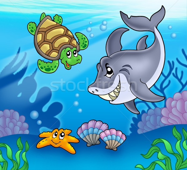 Cartoon animals underwater Stock photo © clairev