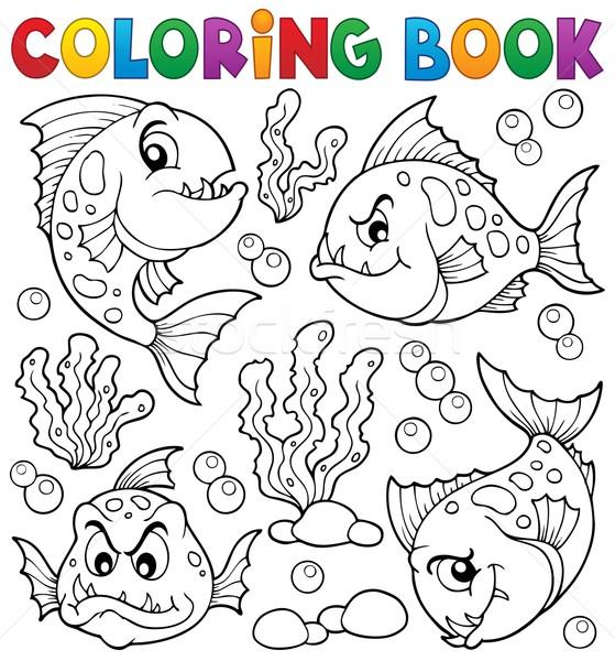 Livro para colorir piranha livro peixe pintar Foto stock © clairev