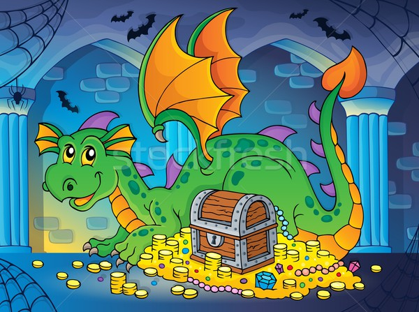 Dragon with treasure theme image 2 Stock photo © clairev