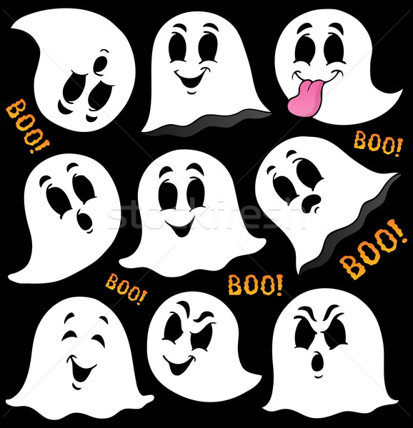 Various ghosts on black background Stock photo © clairev