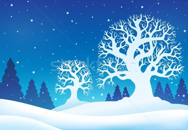 Winter boom natuur sneeuw bomen kunst Stockfoto © clairev