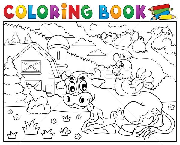 Coloring book cow near farm theme 3 Stock photo © clairev