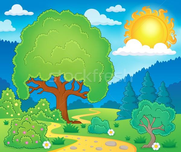 Wiosną temat dekoracje słońce charakter sztuki Zdjęcia stock © clairev