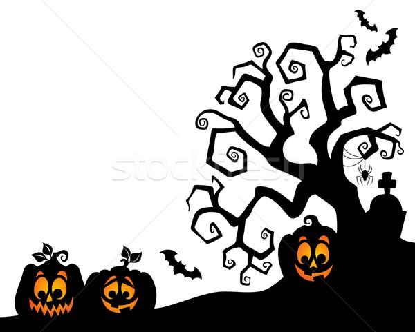 Stock fotó: Halloween · fa · sziluett · arc · fény · művészet