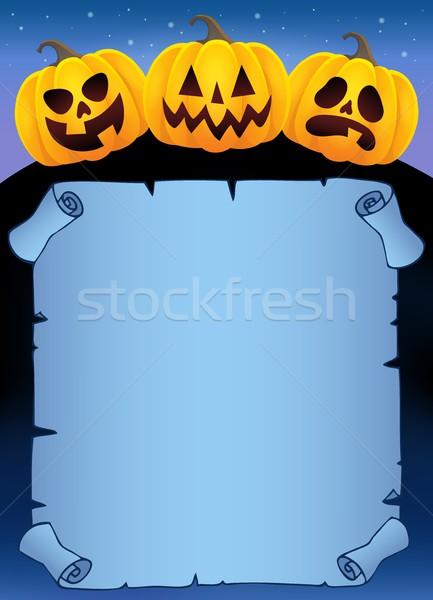Foto stock: Pergaminho · halloween · abóboras · cara · arte · noite