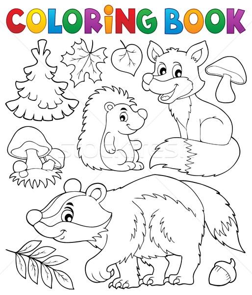 Kolorowanka lasu przyrody książki drewna liści Zdjęcia stock © clairev