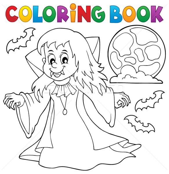 Kifestőkönyv vámpír lány mosoly könyv festék Stock fotó © clairev