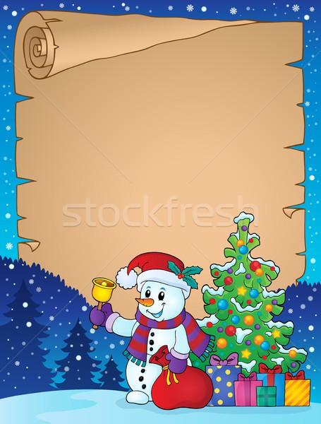 Parchment with Christmas snowman theme 1 Stock photo © clairev