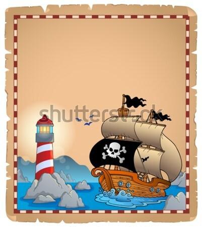 ストックフォト: 羊皮紙 · 海賊 · ボート · 男 · 木材 · 海