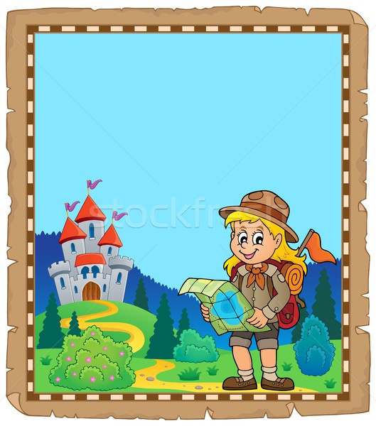 Parchment with scout girl theme 4 Stock photo © clairev