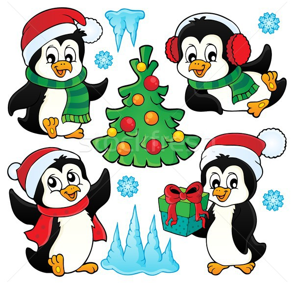 Christmas penguins thematic set 1 Stock photo © clairev