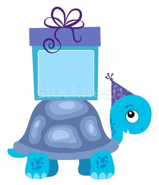 Blu tartaruga regalo party felice compleanno Foto d'archivio © clairev