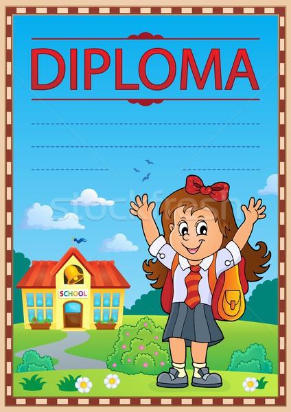 Diploma plantilla imagen nino diseno estudiante Foto stock © clairev
