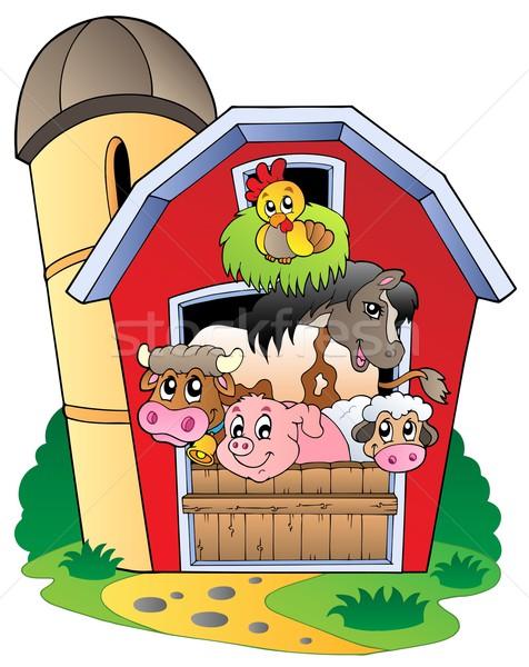 Csőr különböző farm állatok épület boldog természet Stock fotó © clairev