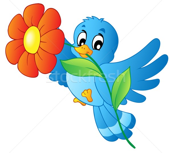 Blue bird carrying flower Stock photo © clairev