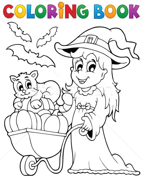 Foto stock: Livro · para · colorir · halloween · imagem · sorrir · livro · projeto