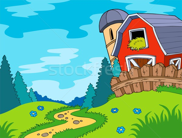 Country landscape with barn Stock photo © clairev