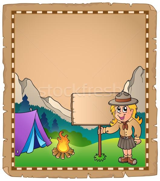 Pergaminho escoteiro menina conselho criança arte Foto stock © clairev