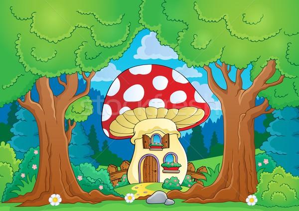 Boom champignon huis voorjaar gebouw natuur Stockfoto © clairev